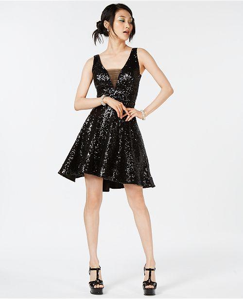 B Darlin Juniors' Sequined V-Back Fit & Flare Dress