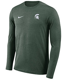 Nike Men's Michigan State Spartans Long Sleeve Dri-Fit Coaches T-Shirt