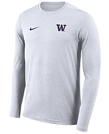 Nike Men's Washington Huskies Long Sleeve Dri-Fit Coaches T-Shirt