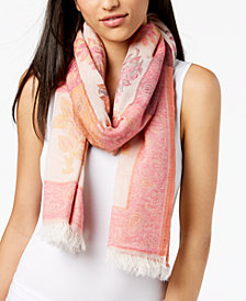 Echo Lotus Floral Cotton Fringe Scarf