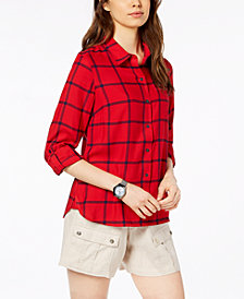Tommy Hilfiger Windowpane-Print Roll-Tab-Sleeve Top