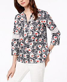 Tommy Hilfiger Cotton Lace-Trim Top, Created for Macy's