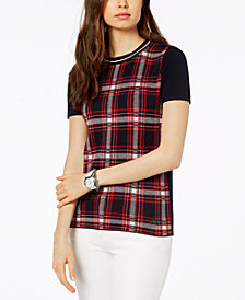 Tommy Hilfiger Cotton Plaid-Front T-Shirt, Created for Macy's