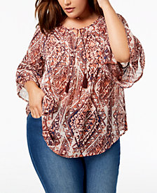 Style & Co Plus Size Printed Keyhole Pintuck Top, Created for Macy's