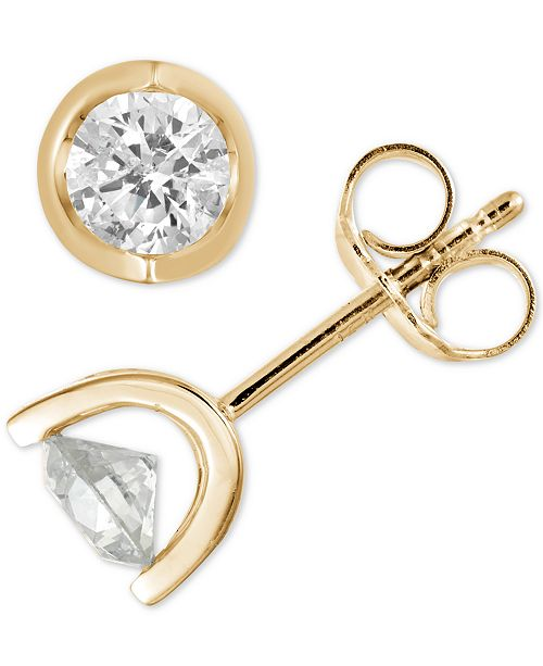 Macy's Diamond Tension Stud Earrings (1/2 to 1 ct. t.w.) in 14k White, Yellow or Rose Gold