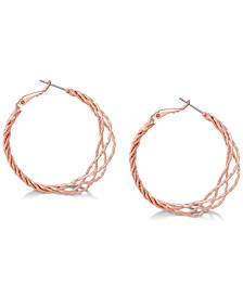 "Rose Gold-Tone  1 1/2"" Twisted Lattice Medium Hoop Earrings"