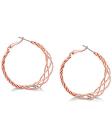 GUESS Rose Gold-Tone Twisted Lattice Hoop Earrings