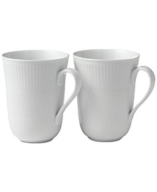 White Fluted Mugs, Set of 2