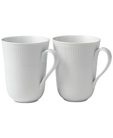 Royal Copenhagen White Fluted Mugs, Set of 2