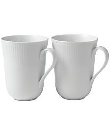 Royal Copenhagen White Fluted Mugs, Set of 2
