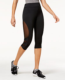 Material Girl Juniors' Mesh-Panel Cropped Leggings, Created for Macy's