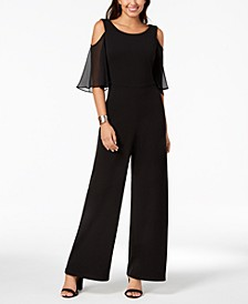 Petite Chiffon Cold-Shoulder Jumpsuit