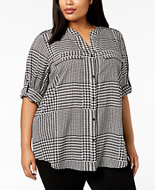 Calvin Klein Plus Size Printed Roll-Tab-Sleeve Top