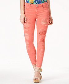GUESS Ripped Lace-Patch Skinny Jeans