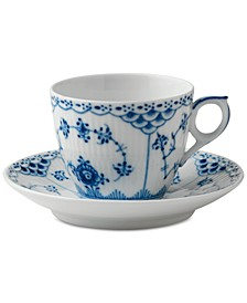 Blue Fluted Half Lace Coffee Cup & Saucer