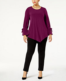 Alfani Plus Size Ruffled-Sleeve Pointed-Hem Blouse, Created for Macy's
