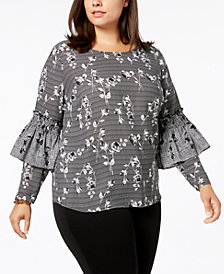 NY Collection Plus Size Printed Ruffle-Sleeve Top