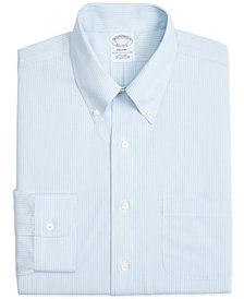 Brooks Brothers Men's Regent Slim-Fit Non-Iron Polo Light Blue & Gray Stripe Broadcloth Dress Shirt