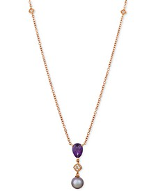 """Ultraviolet Pearl (9mm), Grape Amethyst™ (1-1/4 ct. t.w.) & Diamond Accent 20"""" Pendant Necklace in 14k Rose Gold"""
