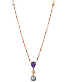 "Le Vian® Ultraviolet Pearl (9mm), Grape Amethyst™ (1-1/4 ct. t.w.) & Diamond Accent 20"" Pendant Necklace in 14k Rose Gold"