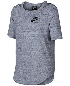 Nike Big Girls Cold-Shoulder Logo-Print T-Shirt