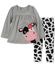 Little Girls 2-Pc. Cow Tunic & Leggings Set