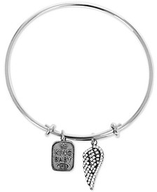 Women's Pavé Wing & Logo Adjustable Bangle Bracelet in Sterling Silver