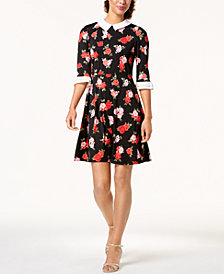 Monteau Petite Lace-Collar Fit & Flare Dress, Created for Macy's