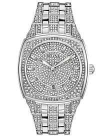 Bulova Men's Stainless Steel & Crystal-Accent Bracelet Watch 40mm