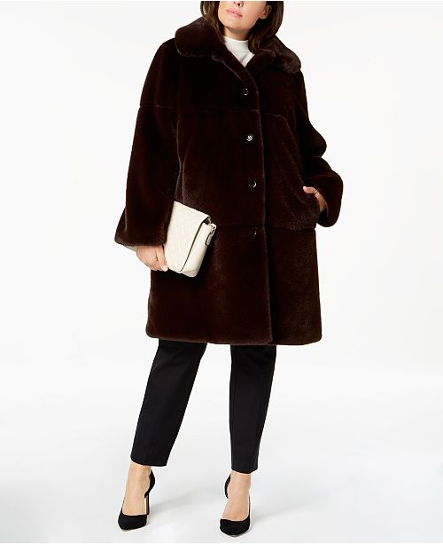 Jones New York Plus Size Faux-Fur Coat & Reviews - Coats - Women ...