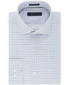 Tommy Hilfiger Men's Classic/Regular Fit TH Flex Stretch Non-Iron Blue Check Dress Shirt