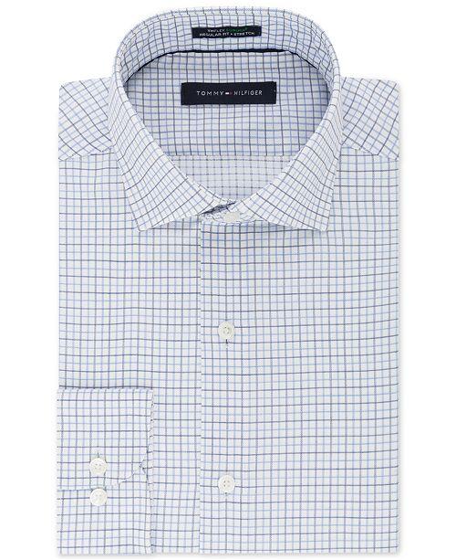 Men's ClassicRegular Fit TH Flex Stretch Non Iron Blue Check Dress Shirt