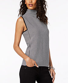 I.N.C. Striped Sleeveless Funnel-Neck Top, Created for Macy's