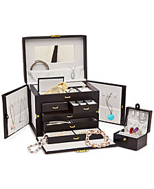 Godinger Philip Whitney Faux Leather Jewelry Box with Mini Travel Box