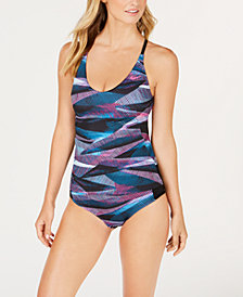 Nike Line Up Printed Cross-Back Tankini Top & Hipster Bikini Bottoms
