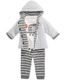 First Impressions Baby Boys Reversible Jacket, Elephant-Print T-Shirt & Striped Jogger Pants, Created for Macy's