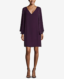 Betsy & Adam Petite Beaded Chiffon-Sleeve Dress