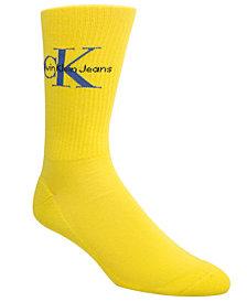 Calvin Klein Men's Ribbed Logo Crew Socks