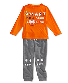 First Impressions Toddler Boys Smart-Print T-Shirt & Monster-Print Jogger Pants, Created for Macy's