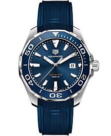 TAG Heuer Men's Swiss Aquaracer Blue Rubber Strap Watch 43mm