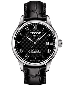 Men's Swiss Automatic T-Classic Le Locle Powermatic 80 Black Leather Strap Watch 39.3mm