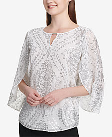 Calvin Klein Sequined Tulip-Sleeve Top