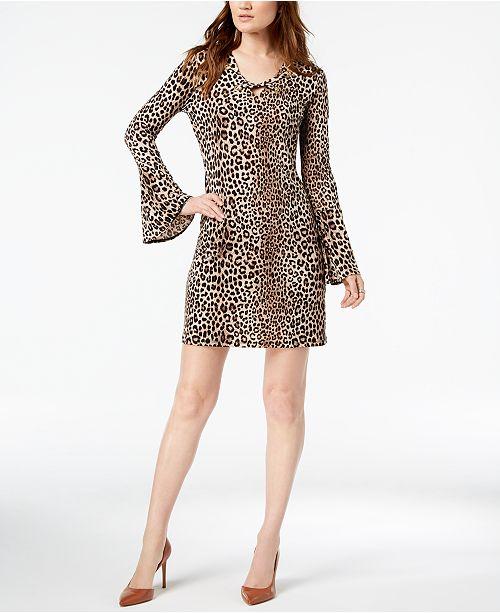 8e52d4f132 ... Michael Kors Leopard-Print Bell-Sleeve Dress
