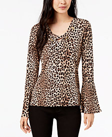 MICHAEL Michael Kors Leopard-Print Bell-Sleeve Top, In Regular & Petite Sizes