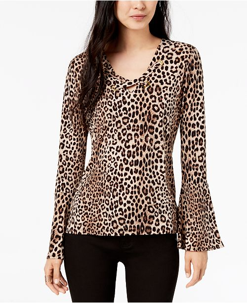 2a1066218c7a ... Michael Kors Leopard-Print Bell-Sleeve Top, In Regular & Petite Sizes  ...
