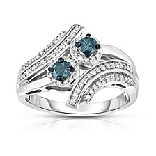 Blue and White Two Stone Diamond  Ring (1/2 ct. t.w.) in Sterling Silver