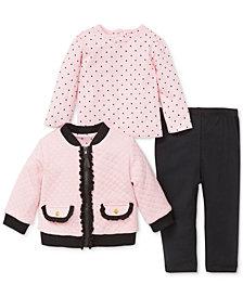Little Me Baby Girls 3-Pc. Jacket, T-Shirt & Pants Set