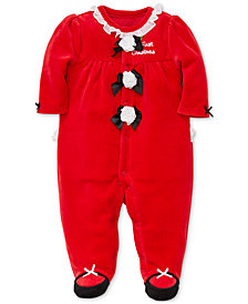 Little Me Baby Girls Velour Rosettes Footed Coverall