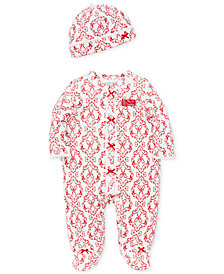 Little Me Baby Girls Cotton Damask-Print Footed Coverall with Hat