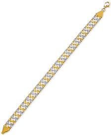Two-Tone Tracks Link Bracelet in 10k Gold & Rhodium-Plate